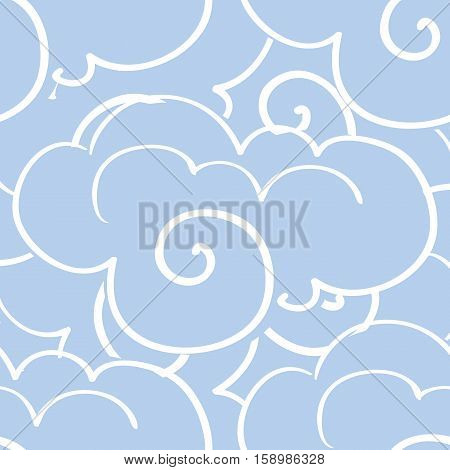 Sky with clouds, seamless pattern. Vector illustration