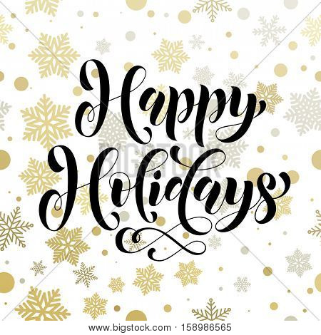 Happy Holidays vector pattern of winter golden and silver crystal snowflakes ornaments for Christmas greeting card. Golden Christmas decoration vector poster with gold foil glitter lettering