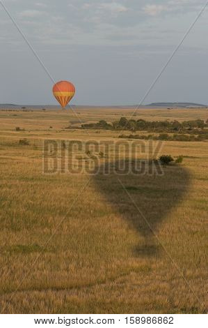 A hot air balloon safari over the Masai Mara in Kenya Africa at sunrise. A balloon in flight is seen in the distance and the shadow of a second balloon is seen in the foreground. Photographed in natural light.