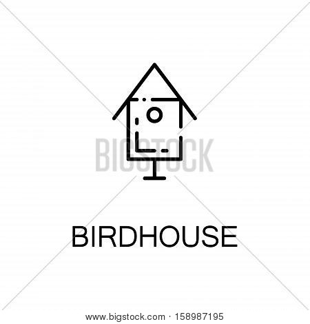 Birdhouse flat icon. Single high quality outline symbol of spring for web design or mobile app. Thin line signs of birdhouse for design logo, visit card, etc. Outline pictogram of birdhouse