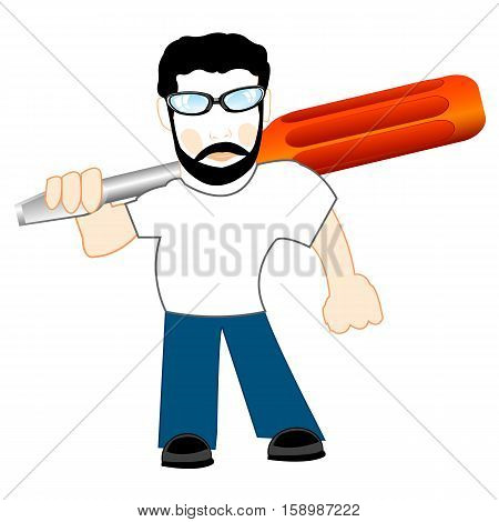 Young man with screwdriver in hand on white background