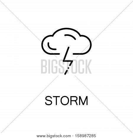 Storm flat icon. Single high quality outline symbol of spring for web design or mobile app. Thin line signs of cloud for design logo, visit card, etc. Outline pictogram of storm