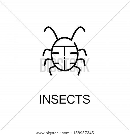 Insects flat icon. Single high quality outline symbol of spring for web design or mobile app. Thin line signs of insects for design logo, visit card, etc. Outline pictogram of insects
