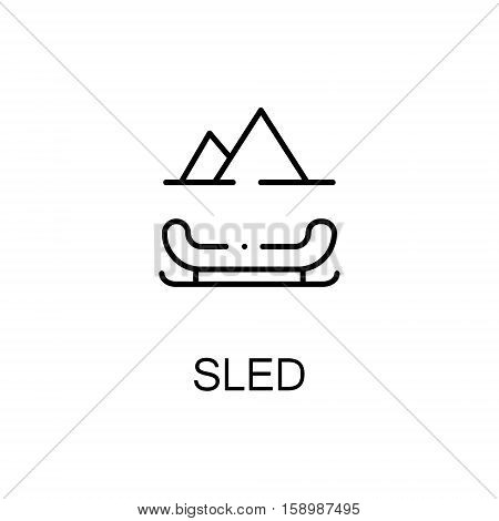 Sled flat icon. Single high quality outline symbol of winter for web design or mobile app. Thin line signs of sled for design logo, visit card, etc. Outline pictogram of sled