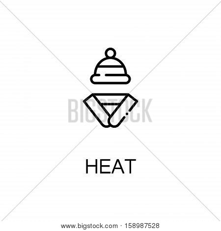 Heat and scarf flat icon. Single high quality outline symbol of winter for web design or mobile app. Thin line signs of winter clothing for design logo, visit card, etc. Outline pictogram of heat.