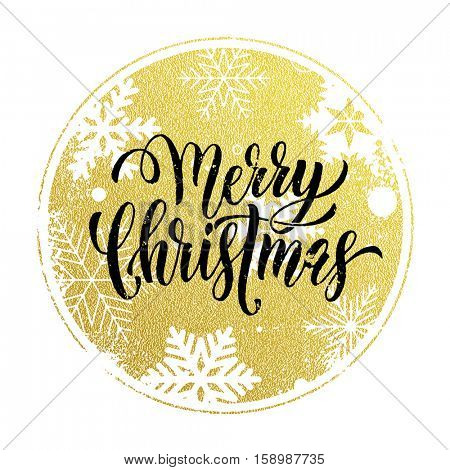 Christmas decoration background. Vector pattern of winter golden and silver crystal snowflakes ornaments. Merry Christmas festive text calligraphy lettering for greeting card