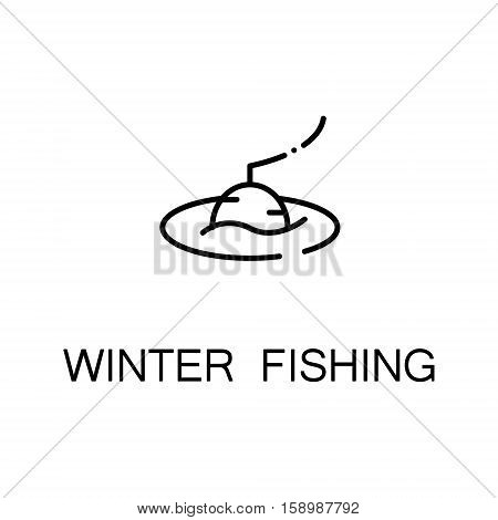 Winter fishing flat icon. Single high quality outline symbol of winter for web design or mobile app. Thin line signs of fishing for design logo, visit card, etc. Outline pictogram of fishing