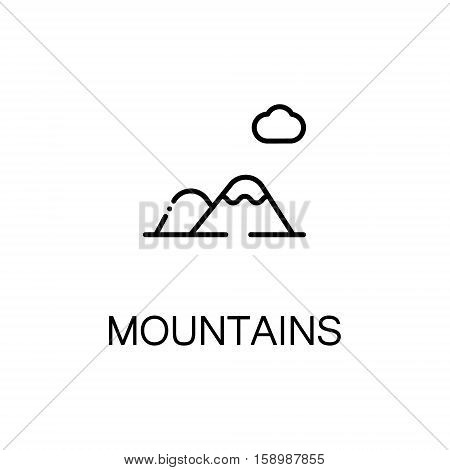 Mountains flat icon. Single high quality outline symbol of winter for web design or mobile app. Thin line signs of mountains for design logo, visit card, etc. Outline pictogram of mountains