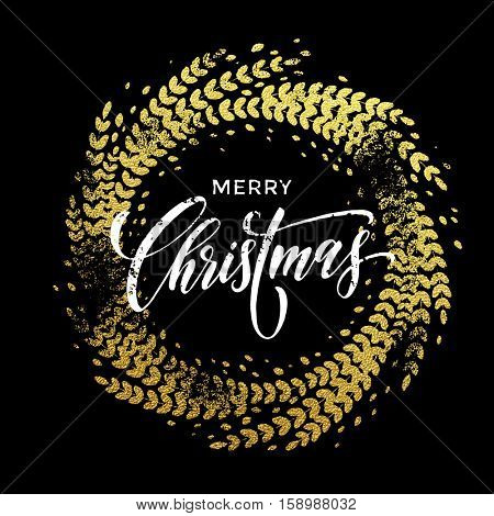 Wreath garland of gold leaf pattern. Golden sparkling decoration wreath garland leaf ornament of circle of and text calligraphy lettering. Festive vector background. Merry Christmas gold greeting card