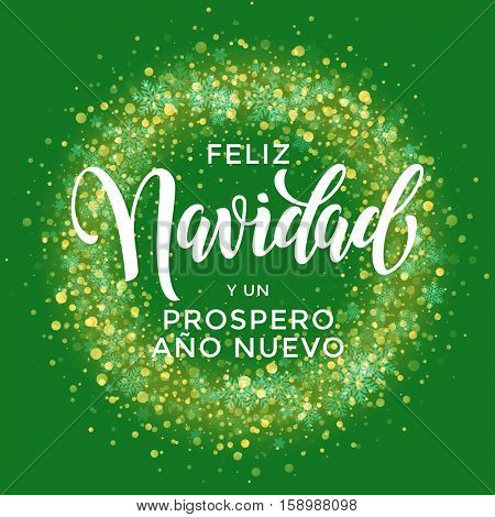 Spanish Merry Christmas Feliz Navidad, New Year Prospero Ano Nuevo. Wreath ornament decoration of sparkle glitter golden snowflakes stars pattern. Merry Christmas decorative text lettering