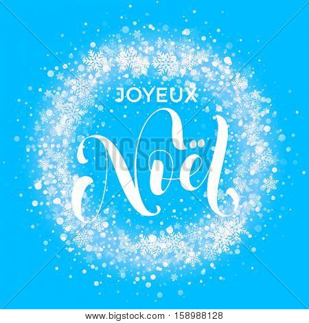 French Merry Christmas Joyeux Noel. Wreath ornament decoration of sparkle glitter golden snowflakes stars pattern. Blue light glow vector background. Christmas decorative festive glittering gold snow
