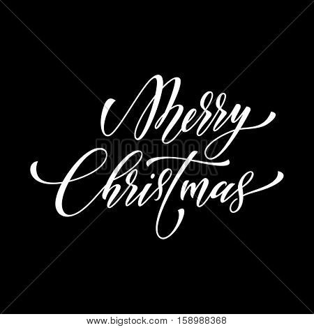 Decorative winter holiday black background. Merry Christmas calligraphy text. Greeting card design element. White festive decorative vector hand drawn lettering.