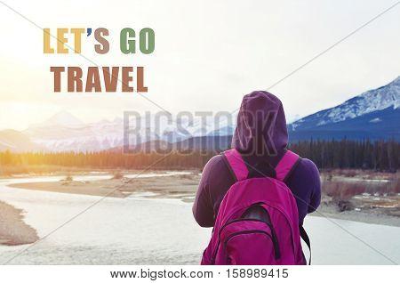 Let's go travel words, exploration journey concept