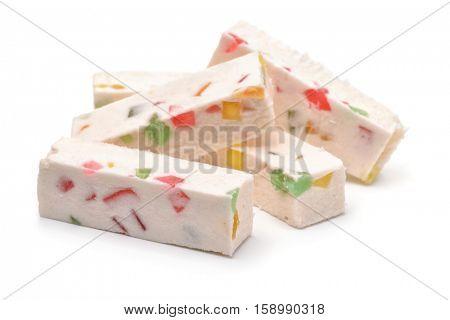 Fruit nougat sticks isolated on white