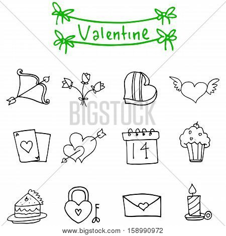Illustration of valentine icons vector collection stock
