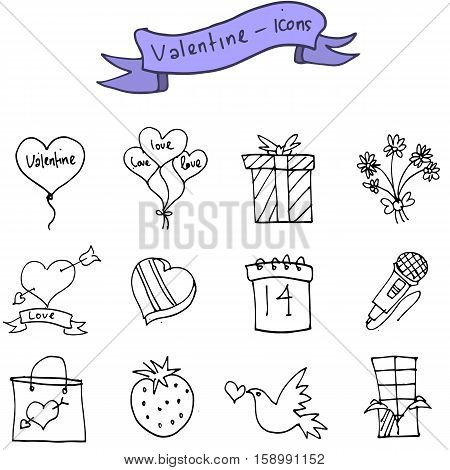 vector art of valentine day icons collection stock