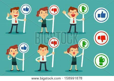 set of businessman and women holding sign with thumps up thumps down and OK hand icon