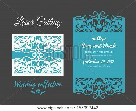 DIY Template for laser cutting. Open card. The front and rear side. vector can be used as an envelope. Wedding die cut invitation template. Cutout silhouette card invitation card mockup