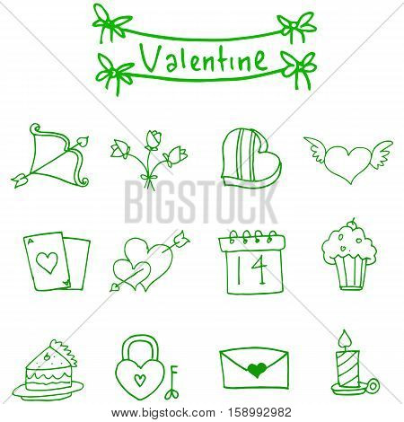 Valentine day icons vector illustration collection stock