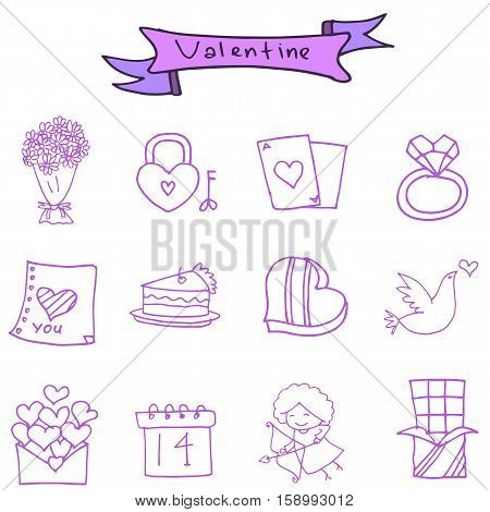 Valentine icons romance theme vector collection stock