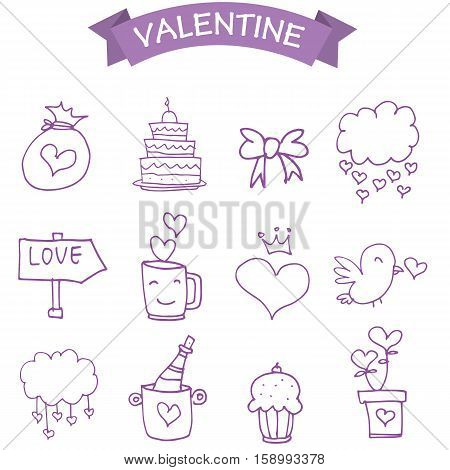 Vetcor illustration of valentine icons collection stock