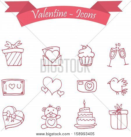 Vector icon of valentine day collection stock