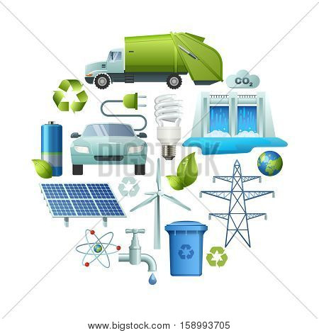 Circle composition with isolated energy and ecology cartoon style symbols with alternate power sources recycling signs vector illustration