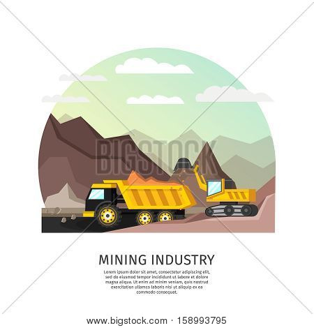 Orthogonal arched composition with mining technics excavator truck in open pit scenery with editable bottom text vector illustration