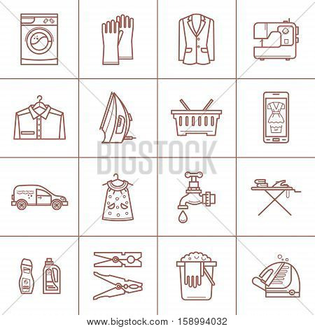 Laundry room icon set in linear style. Washing machine, laundry basket, iron. Cleaning concept, dry cleaning.