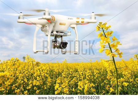 PILSEN CZECH REPUBLIC - APRIL 29, 2016: Drone quadrocopter Dji Phantom 3 Professional with camera. Farmer use drone for inspect of crop on rapeseed fields. Modern technology in agriculture.