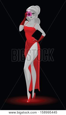 Super Agent. Secret Agent. Elegant Woman Spy In The Evening Red Dress Photographed