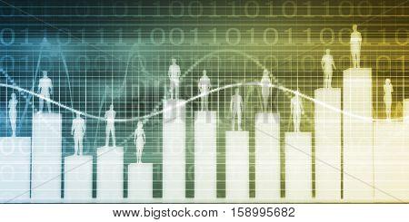 User Demographics and a Business Population Data Results 3D Illustration Render