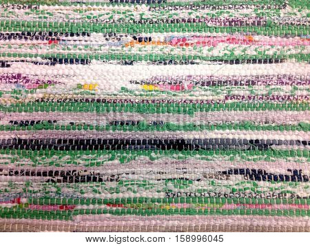 Colorful Rag Hand Made Woven Mat Texture