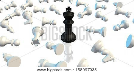 Winner Concept of Chess King Beating the Rest of the Pieces 3D Illustration Render