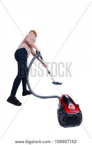 Rear view of a woman with a vacuum cleaner. She is busy cleaning. Rear view people collection.  backside view of person.  Isolated over white background. cleaner cleans the floor with a vacuum cleaner