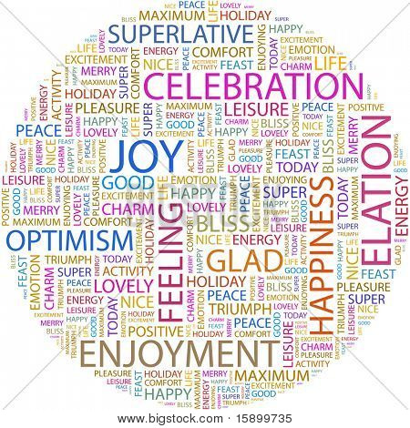 JOY. Word collage on white background. Vector illustration. Illustration with different association terms.