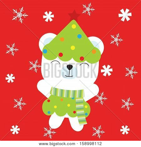 Christmas illustration with cute baby bear on Xmas tree custom suitable for Xmas kid greeting card, wallpaper, and postcard