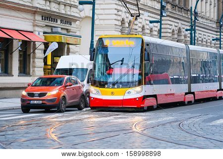 Prague, Czechia - November, 21, 2016: tram stop in Prague, Czechia. Tram is popular transport in Prague