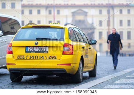 Prague, Czechia - November, 21, 2016: taxi in a center of Prague, Czechia