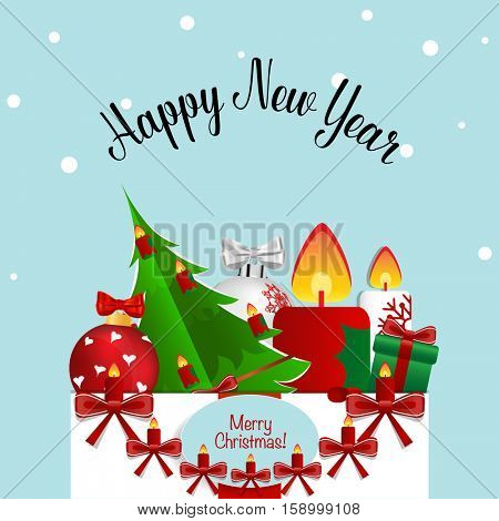 Merry Christmas and Happy new year Greeting Card with Santa Claus, vector illustration.