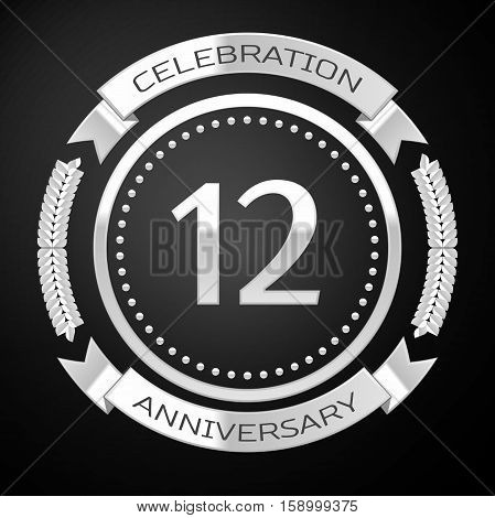 Twelve years anniversary celebration with silver ring and ribbon on black background. Vector illustration