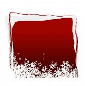 Red board with snowflakes. Vector poster