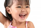 Three Year Old Asian Girl against white background poster