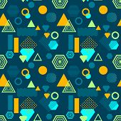 Abstract seamless pattern from geometric form in postmodern Memphis Style on dark blue background for wallpaper or package or for clothes for decoration childish school subject or for creative design poster