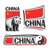Vector logo China, 3 isolated images: vertical banner giant panda bear on background Chinese national state flag, symbol ancient chinese tao philosophy yin and yang, republic of china ensign flags. poster