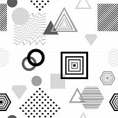 Abstract seamless pattern from geometric form in postmodern Memphis Style black  grey on white for wallpaper or package or for clothes for decoration childish school subject or for creative design poster