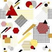 Abstract seamless pattern from geometric form in postmodern Memphis Style white black red beige for wallpaper or package or for clothes for decoration childish school subject or for creative design poster