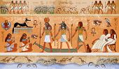 Ancient Egypt scene mythology. Egyptian gods and pharaohs. Hieroglyphic carvings on the exterior walls of an ancient temple. Egypt background. Murals ancient Egypt. poster