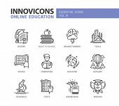 Online Education - modern vector thin line flat design icons and pictograms set. Degree, back to school, brainstorming, books, homework, discover, explore, research, knowledge, wisdom tests poster
