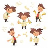Stereotypic bushy haired mad professor wearing lab coat in various poses, cartoon illustration isolated on white background. Crazy laughing comic scientist, mad professor, chemist, doctor poster